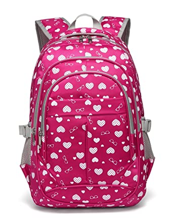 043e9af5aa99 Hearts Print School Backpacks For Girls Kids Elementary School Bags Bookbag