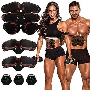 Muscle Toner EMS Ab Trainer Rechargeble Abdominal Toning Belt 10 modes 20 Intensities for Abdomen/Arm/Leg Training Men Women Abs Workout Machine
