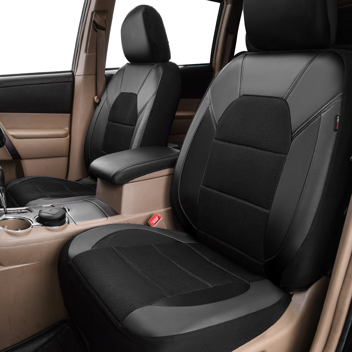 11PC, Black and Grey for Sedans Trunkcs,Suvs CAR PASS Leather and Mesh Universal Car Seat Covers,Airbag Compatible