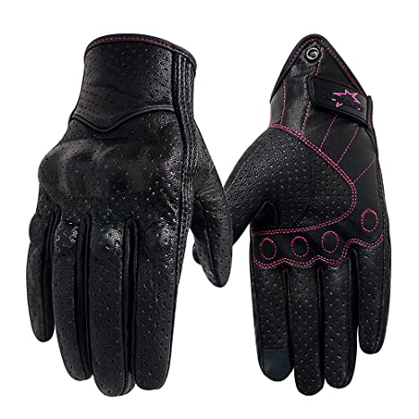 643252f056539 Amazon.com  Full finger Leather Motorcycle Gloves For Ladies Phone Touch  Perforated Armored Motorbike Gloves (Rose Line -Perforated
