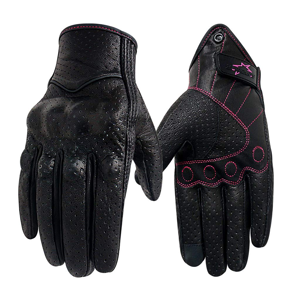 G17W-Rose Mesh Fabric, L Women/'s Touchscreen Motorcycle Gloves Knuckle Armored Dirt Bike Gloves With Leather and Fabric Material