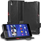 Sony Xperia Z3+ Wallet Case - VENA [vFolio] Slim Vintage Genuine Leather Wallet Stand Case with Card Slots for Sony Xperia Z3+ (Black / Red)