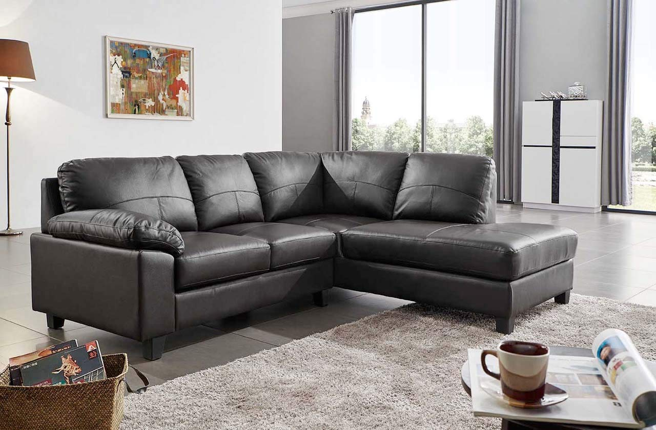 Serenity New Modern Black Real Leather Corner Sofa With
