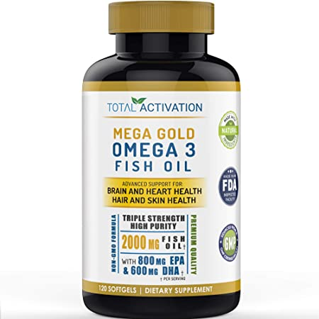 Omega 3 Fish Oil Supplement, Skin, Hair & Heart Health Support, Vitamin E & High Potency EPA DHA, Non-GMO Burpless Small Liquid Softgels, 2000mg, 120 Count