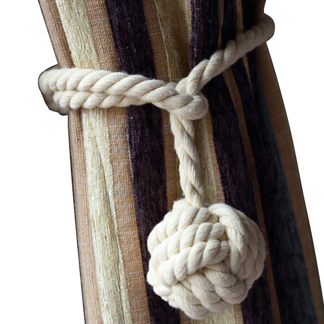 AoDao 2pcs Braided Drapery Tiebacks Curtain Holdbacks Hand Knitting with Double Ball Cotton Rope Beige