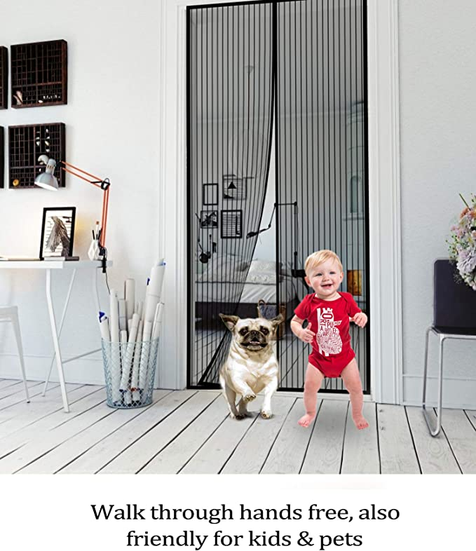 Bohrfrei Magnet fliegengitter t/ür Klettverschluss Sommer Leises Design Feines Netz insektenschutz bel/üftungdie Starker Klettband magnetische Windwiderstand Geeignet f/ür T/üren