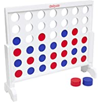 GoSports Giant Wooden 4 in a Row Game - Choose Between Classic White or Dark Stain, and 3 Foot Width - Jumbo 4 Connect…