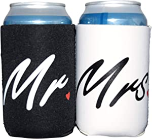 QualityPerfection Mr. & Mrs. Neoprene(Front/Back Print) Wedding - Set Of 2 - Black and White Can Cooler,Great Gift For Wedding Gifts - Engagement Gifts - Anniversary Gifts - Bridal Shower