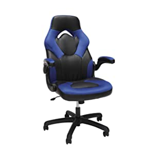 Essentials Racing Style Leather Gaming Chair - Ergonomic Swivel Computer, Office or Gaming Chair, Blue (ESS-3085-BLU)