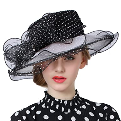 20b58896a0b June s Young Women Ladt Hats Organza Lace Polka Dot Black White Wedding  Wear for Occasion