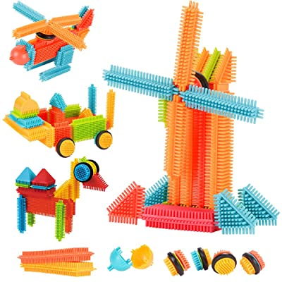 AMOSTING Building Blocks Set Educational Stacking Bath Toys for Toddlers Kids – 150pcs with Storage Bag