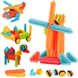 AMOSTING Bristle Blocks Building Set Educational Stacking Bath Toys for Toddlers Kids – 150pcs with Storage Bag