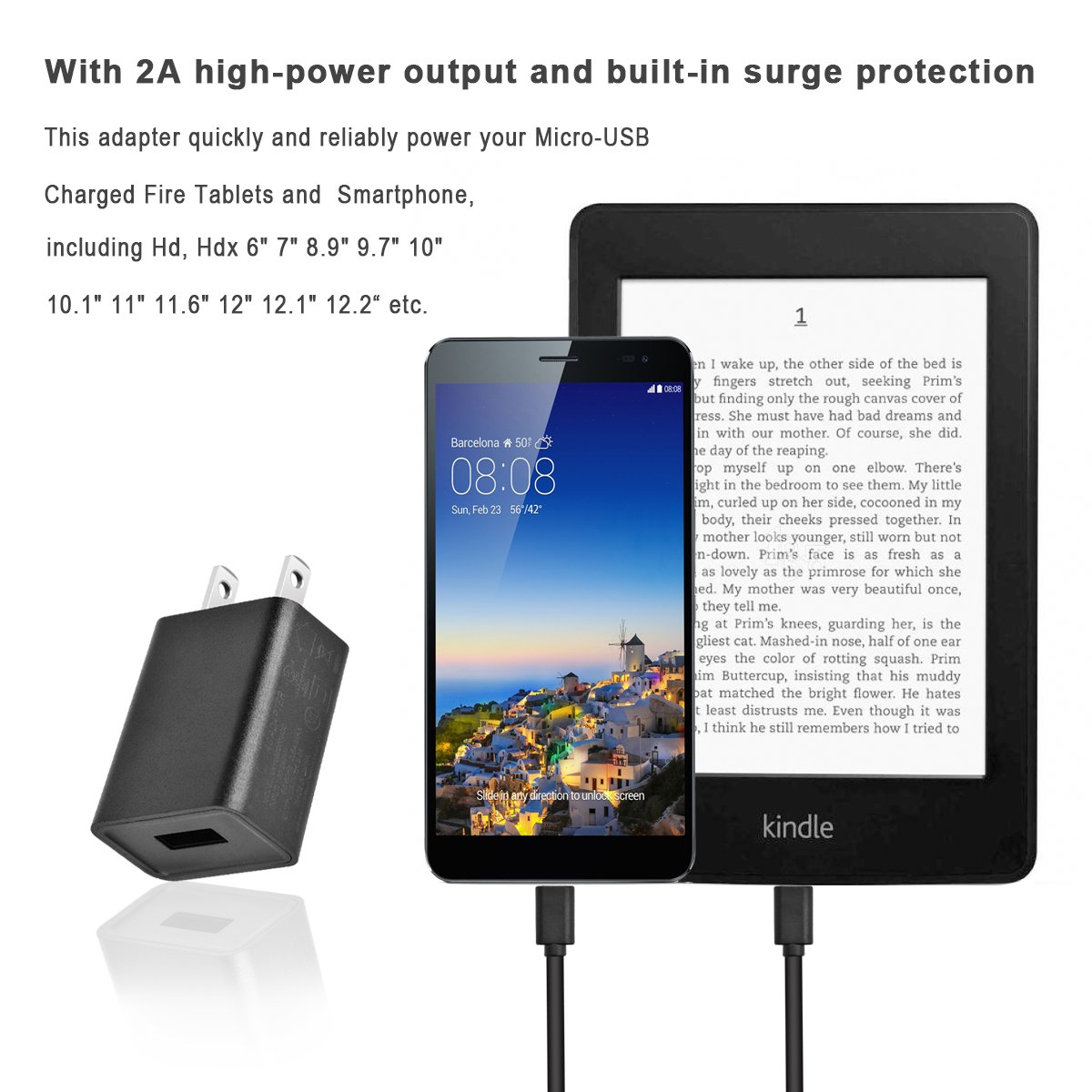 Charger for use with Kindle, 2A Rapid Charger Adapter for Kindle Fire HD,HDX 6'' 7'' 8.9'' 9.7'',Fire 7 8 10 Tablet&Kids Edition, All New Fire, Echo Dot, Paperwhite,Oasis,Voyage with 5FT Power Cord by Sopito (Image #6)