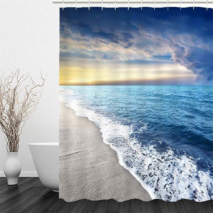 12 Duschvorhangringe Waschbar Badewannevorhang 180x180cm Muster-A X-Labor Strand Motiv Duschvorhang Wasserdicht Stoff Anti-Schimmel inkl