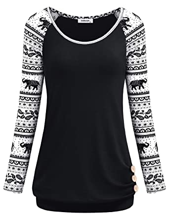 b4b264b48c1 Cute Sweatshirts for Women,Ladies Tops Business Casual Long Sleeve Round  Neck Clothes T Shirt