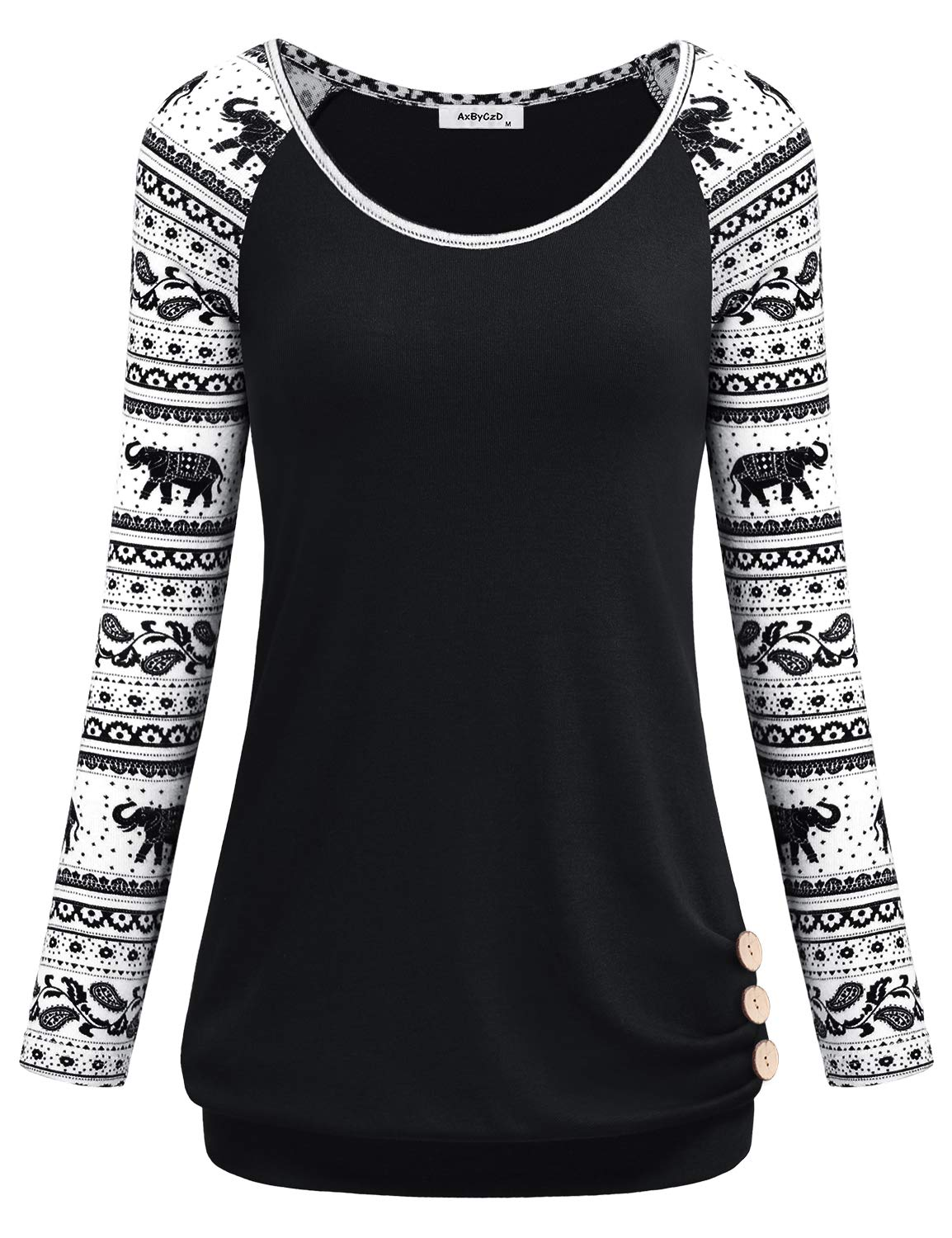 AxByCzD Cute Sweatshirts for Women,Ladies Tops Business Casual Long Sleeve Round Neck Clothes T Shirt Banded Bottom Hipster Lightweight Flowy Tunic Shirts Clothing Black Medium