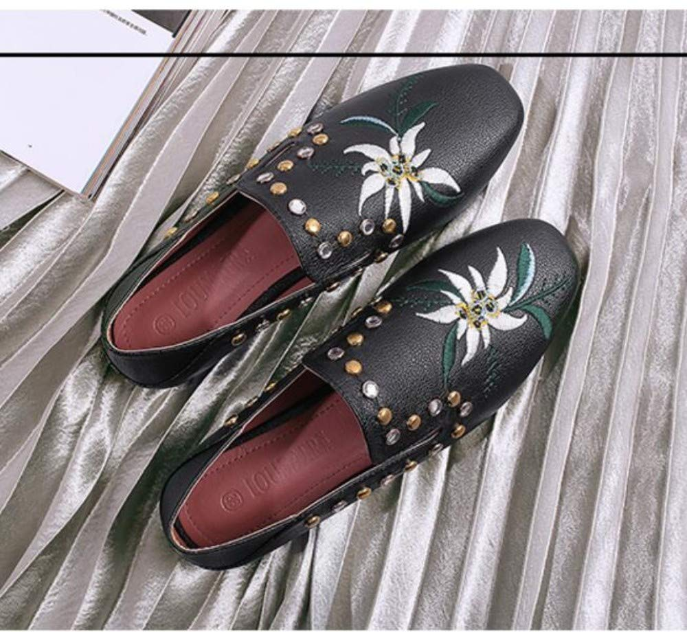 YOPAIYA Espadrilles Chaussures De Pêcheur Chaussures Casual en Cuir Brodées Noires pour Femmes Rivets Rivets Deux Mocassins Mocassins Printemps Grande Taille 41-43