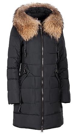 besserer Preis für retro gute Qualität Grimada Damen Winterjacke Mantel kurz mit Echtfell an der Kapuze (Länge  ca.85 cm)