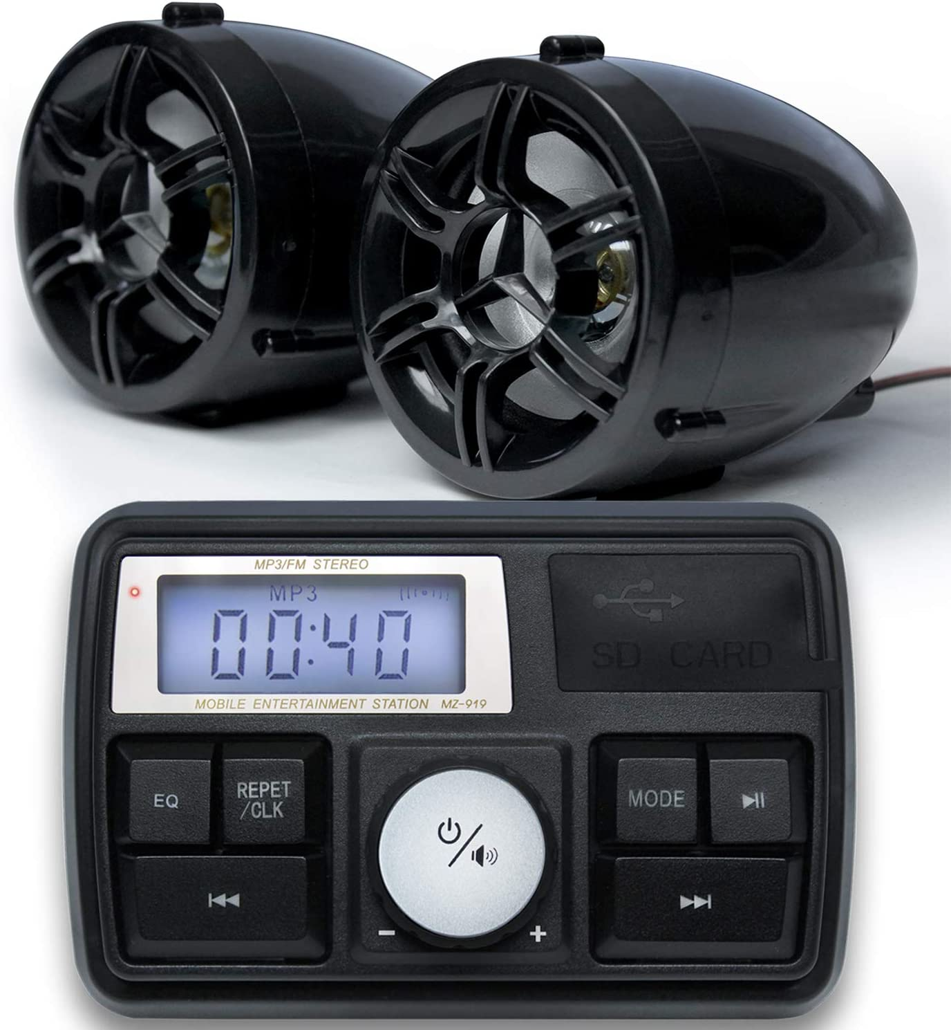 RE8 Handlebar Mount MP3 Music Player Audio Amplifier System ATV 4-Wheelers USB FM Radio GoHawk Waterproof Bluetooth Motorcycle Stereo Speakers LED Soundbar 7//8-1.25 in AUX