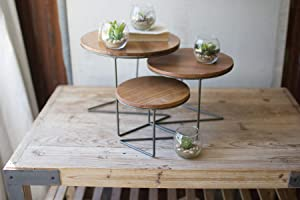 KALALOU Round Wood Topped Wire Display Risers, Set of 3, One Size, Brown, 3 Count