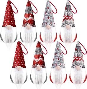 wiland Christmas Gnome Ornaments Set 8 Pack,Handmade Xmas Christmas Tree Ornaments Gnomes Christmas Tree Decorations Hanging Plush Scandinavian Santa Christmas Elf for Home Christmas Decor