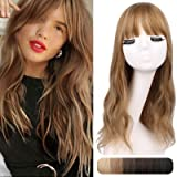 """REECHO 18"""" Synthetic Wiglet Hair Topper with Straight Bangs 3 Clips in Wavy Curly Hair Extensions Hair Closure Piece…"""