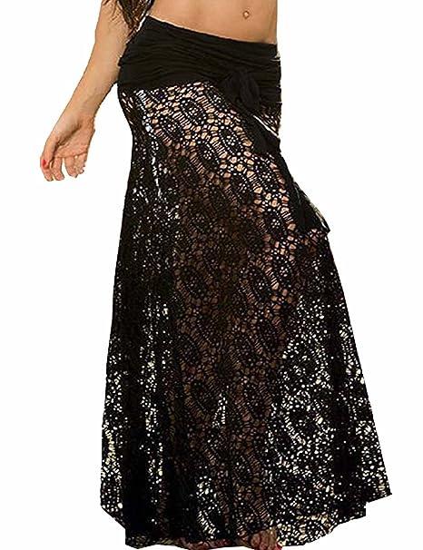 754657a400a78 Vivilover Women's Lace Crochet Tunic Beach Dress Swimwear Cover Up Wrap  (black)