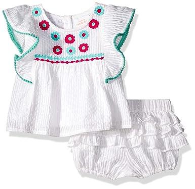 e40c8439b994 Amazon.com  Masala Baby Baby Girls Wave Ruffle 2 Pc Set Metallic ...