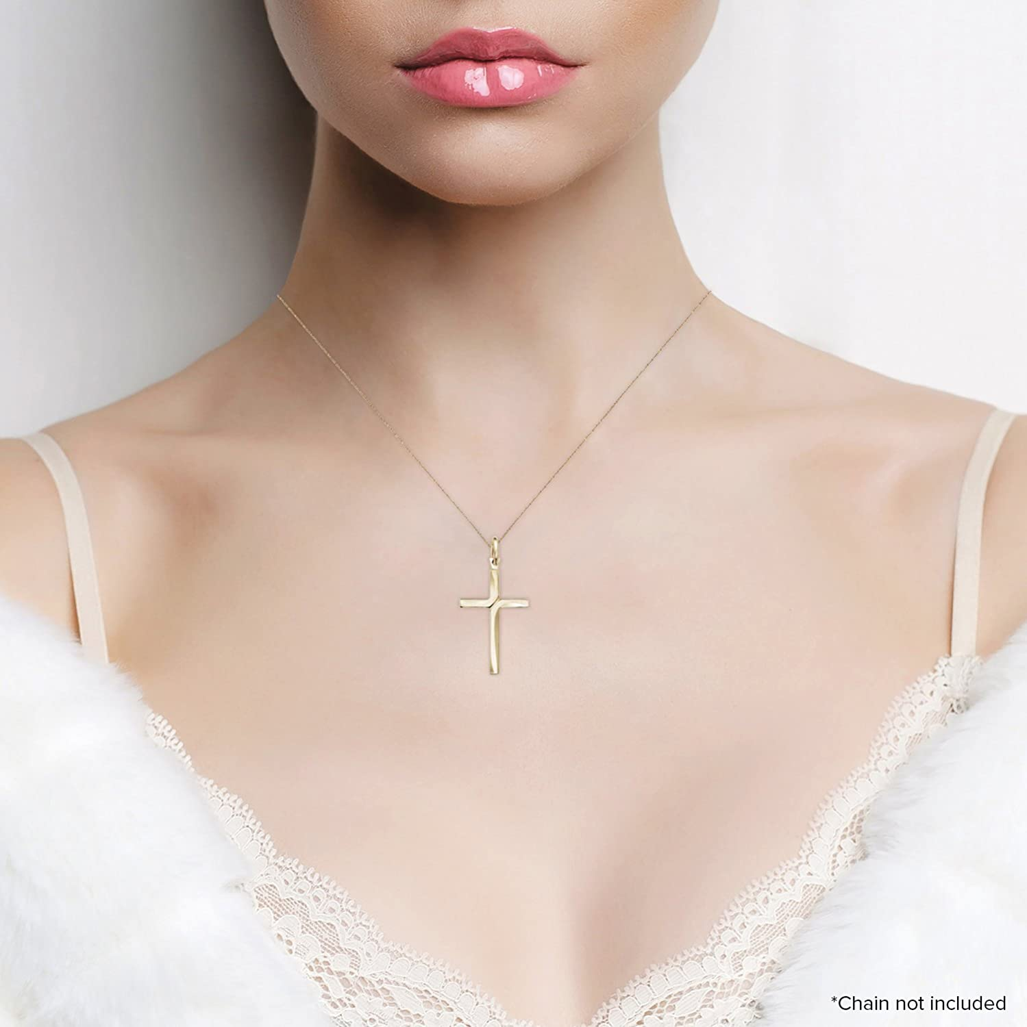Pendant Only girls and Boys Men Solid 14k Yellow Gold Cross Pendant For Women Jewel Connection OC12942