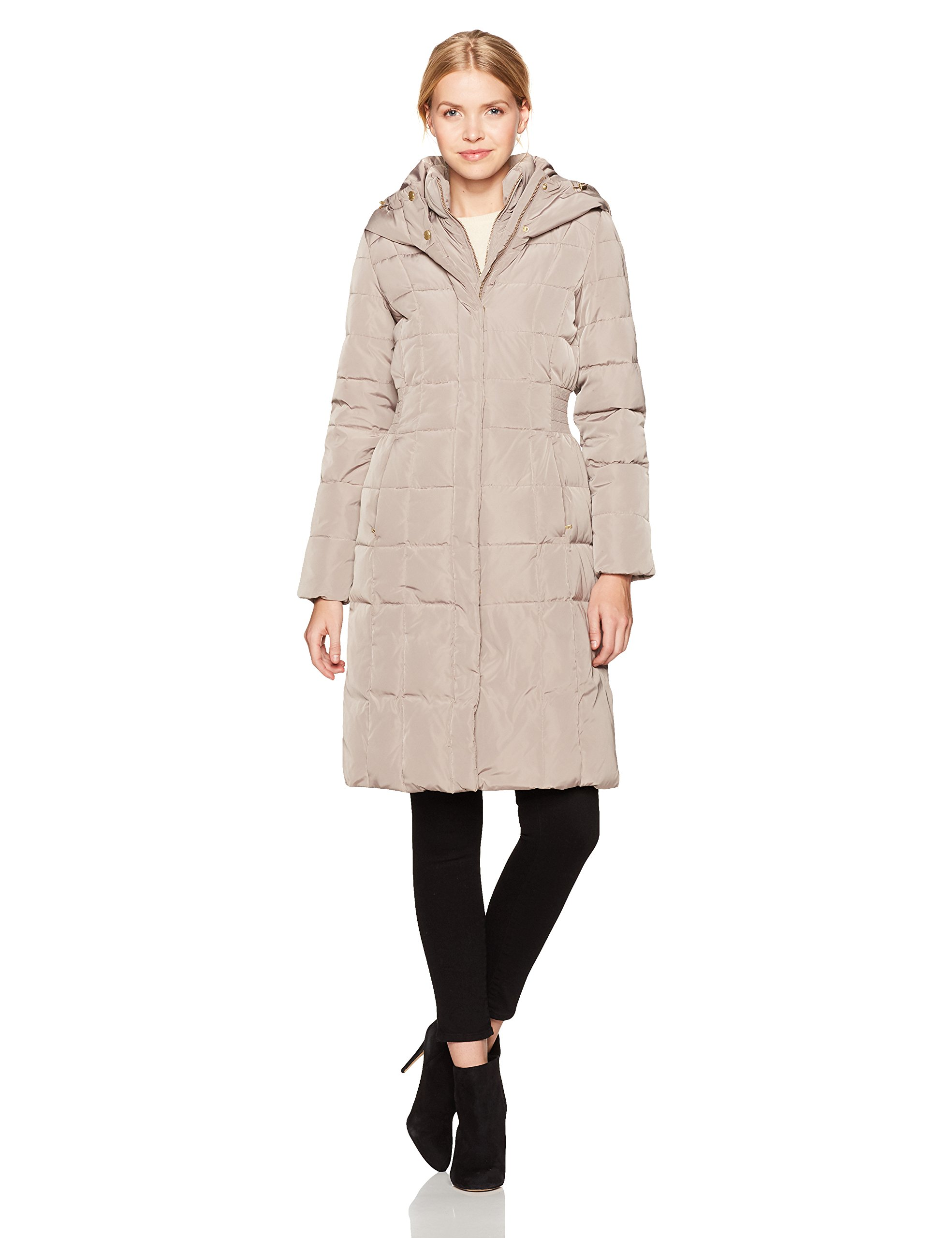 Cole Haan Women's Taffeta Quilted Down Coat with Elasticated Side Waist Detail, Cashew, S