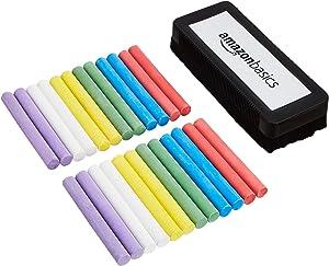 AmazonBasics Dustless Chalk with Eraser, Assorted, 24 Pack