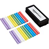 AmazonBasics Dustless Chalk with Eraser, Assorted, 24 Pack