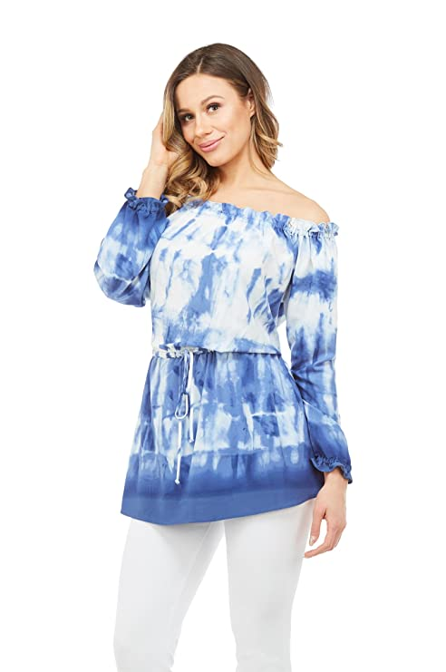 5e5e0469d6983 NYGARD SLIMS Off Shoulder Waist Tie Tunic at Amazon Women s Clothing store