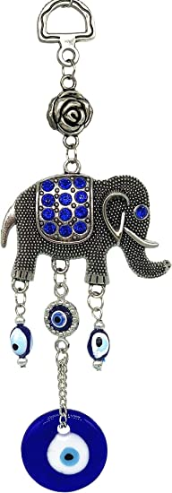 Blue Evil Eye Lucky Elephant Amulet Protection Car Wall Hanging Home Decor Gift
