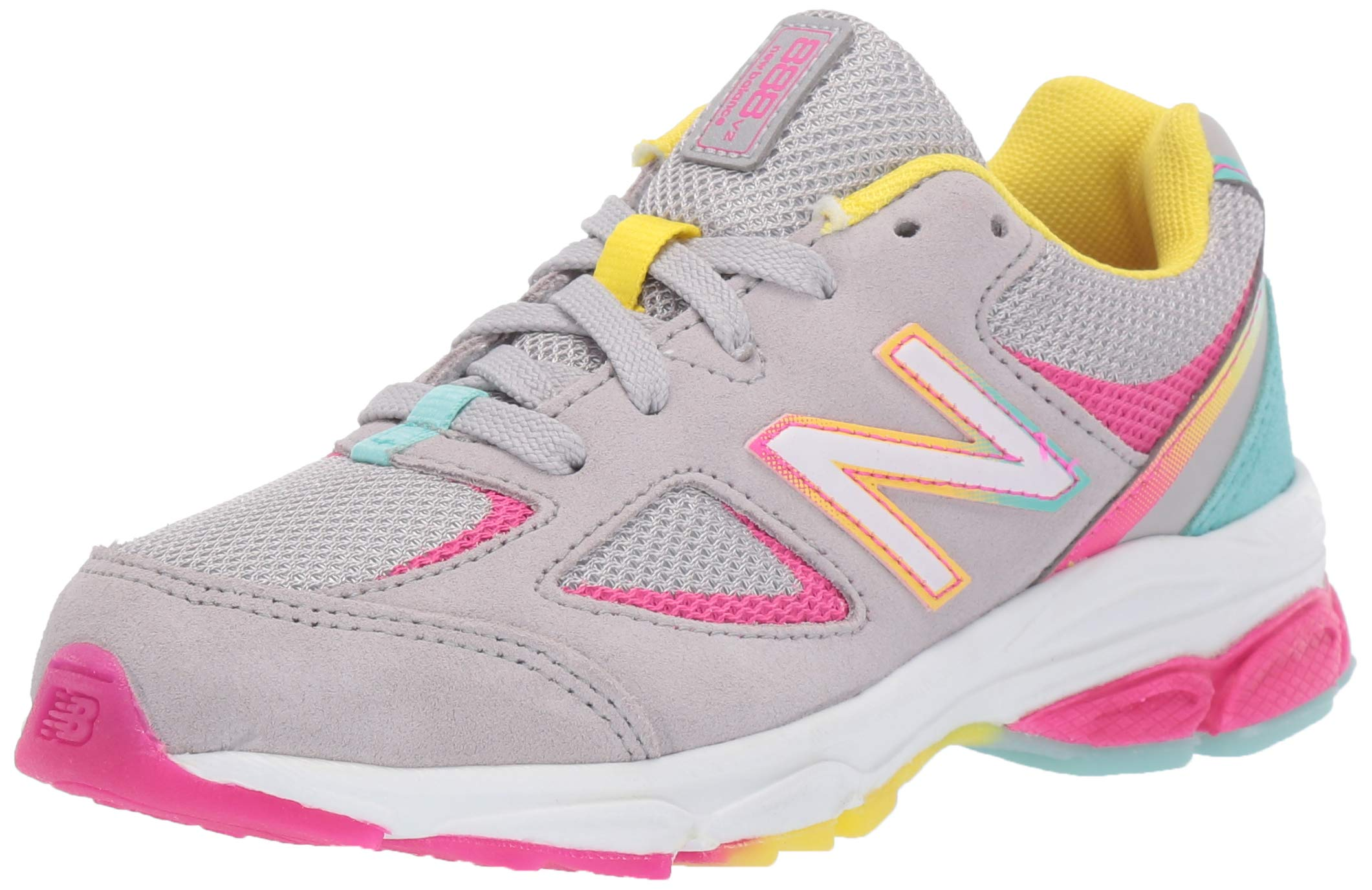 New Balance Girls' 888v2 Running Shoe, Grey/Rainbow, 1 W US Little Kid