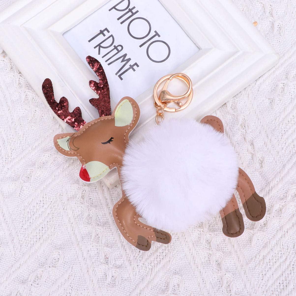 Toyvian llavero reno colgante coche bolsa llavero encanto adorno de regalo de navidad blanco