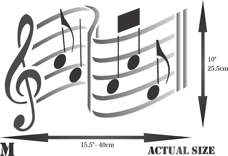 Plantilla de m/úsica Plantillas de notas musicales reutilizables Notation Treble Clef Stencils para pintar