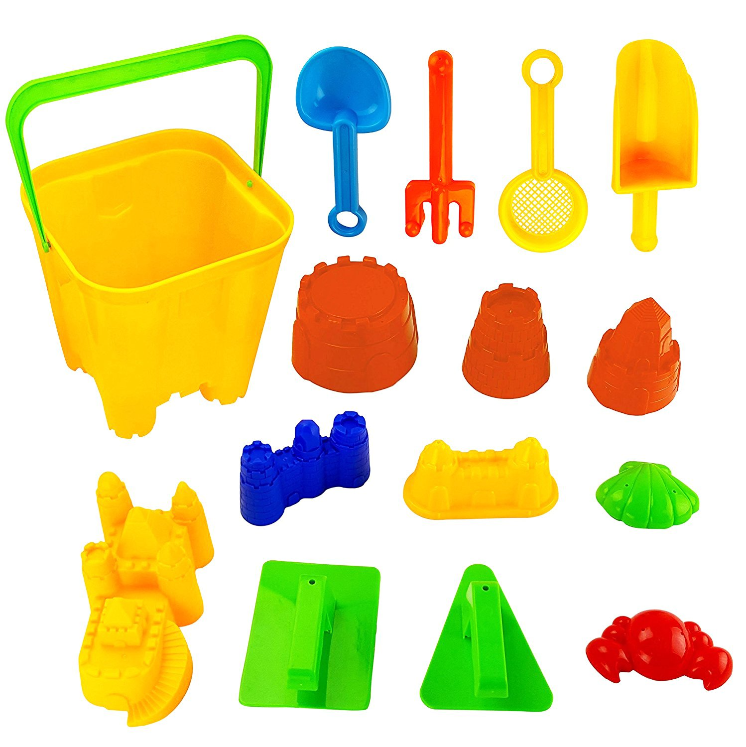 Liberty Imports 15 Piece Sand Castle Building Kit - Beach Toys Set with Large Bucket, Rake, Shovels, Molds and More