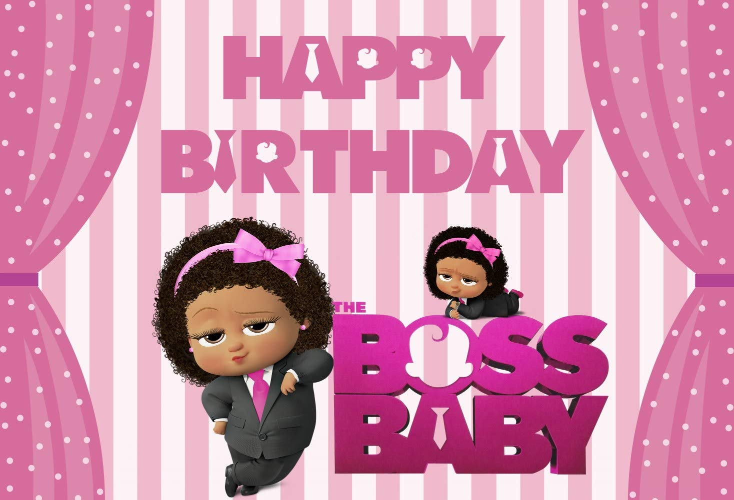 7x5 Ft Boss Baby Girl Birthday Party Photography Backdrop For Cake Smash 1st Birthday African American Little Princess Pink Curtain Candy Sweet Table