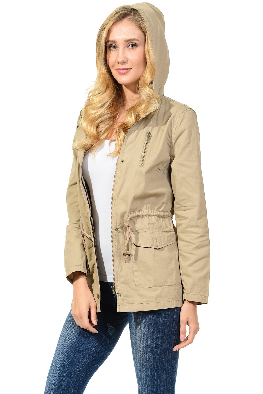 Auliné Collection Womens Military Safari Utility Fashion Hoodie Anorak Jacket Khaki 2XL