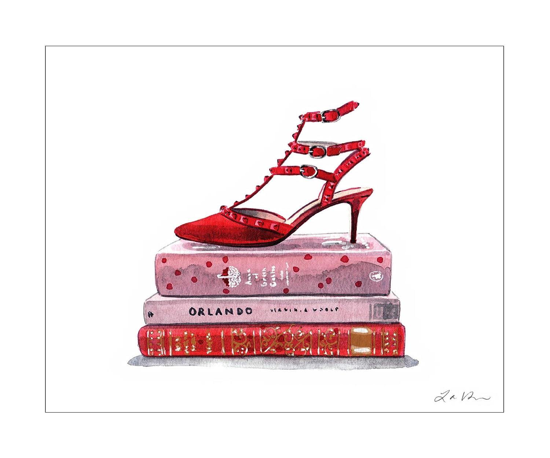 Amazon Com Red Kitten Heels On Books Still Life Fashion Art Print Of Watercolor Painting Handmade