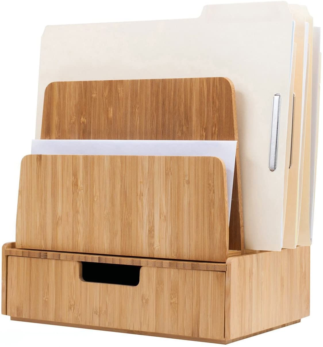 Desktop Paper Tray File Folder Holder 5-Slot, Bamboo Drawer Set; Storage for Office Supplies & Stationary Items, pens, Pencils, Scissors, notepads, Business Cards and More