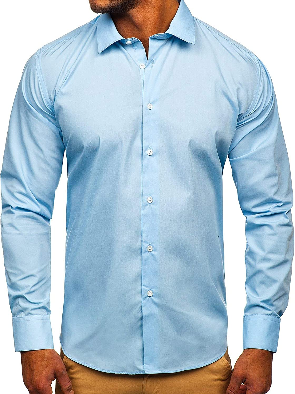 BOLF Hombre Camisa De Manga Larga Elegante Cuello Americano Slim Fit Estilo Casual Mix 2B2: Amazon.es: Ropa y accesorios