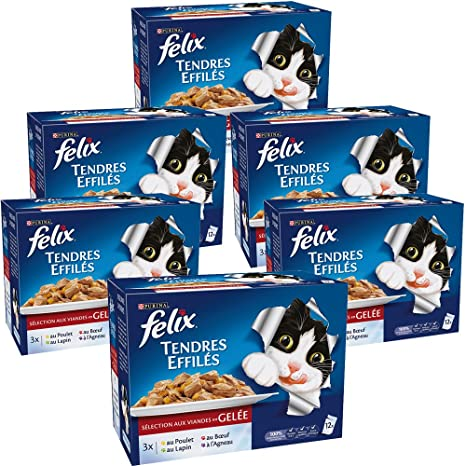 Felix Tiernos trozos en Salsa gelatinosa Comida para Gatos Adultos. Sabor y tamaño a Elegir