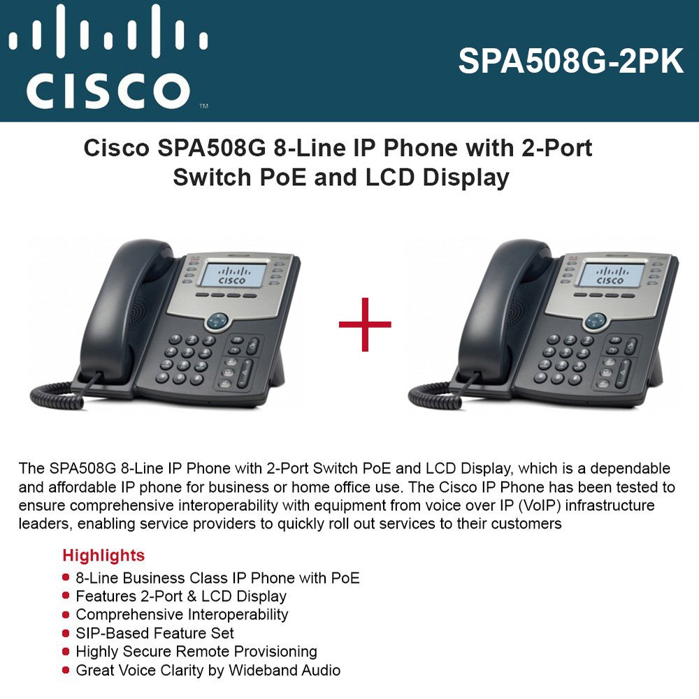 Amazon.com : Cisco IP Phone SPA508G (2-UNITS) 8-Line with 2Port ...