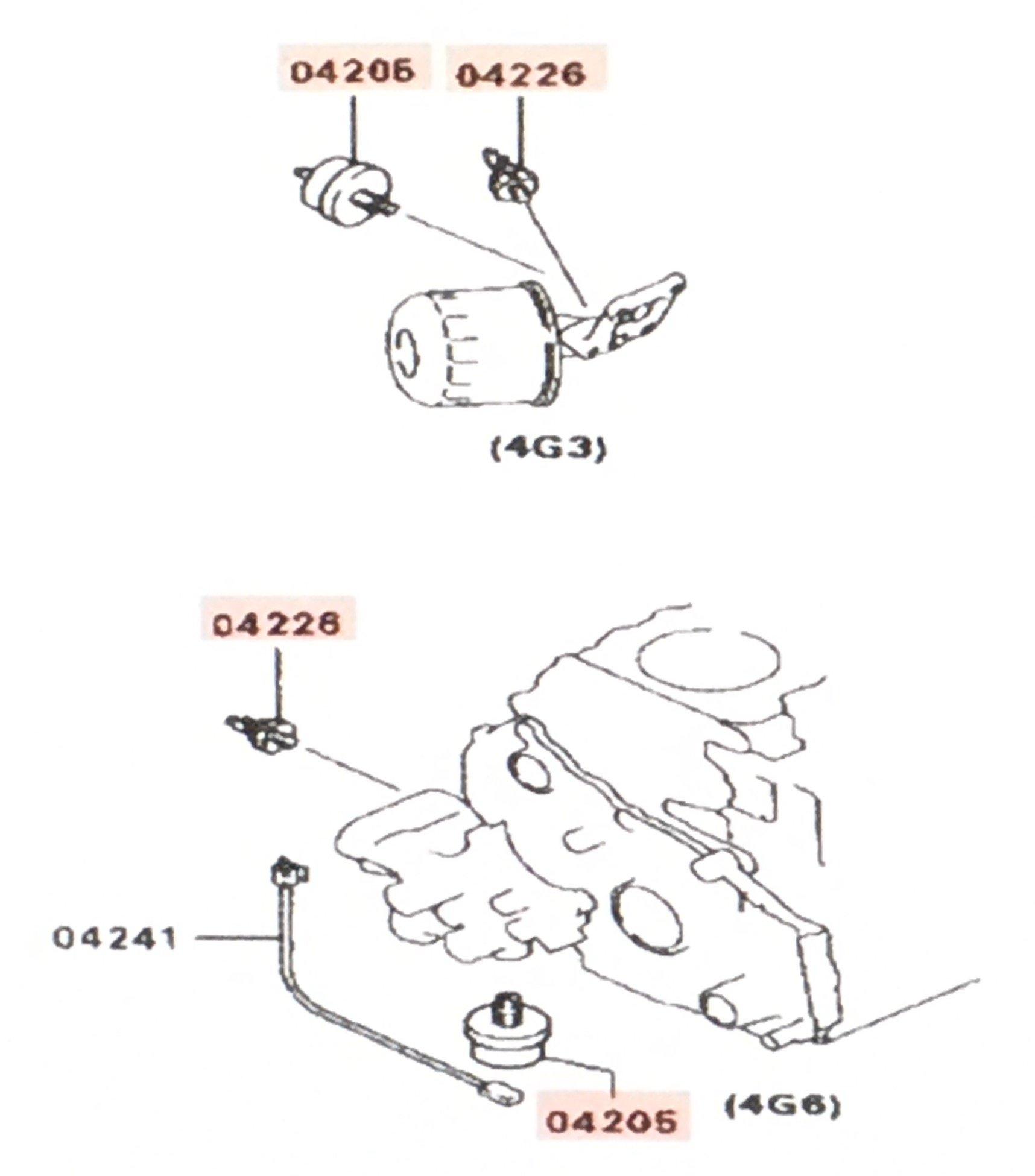 Mitsubishi Genuine Oil Pressure Sensor Set for Guage and Warning Light 1258A002 & MD133273 Eclipse 1990-1999