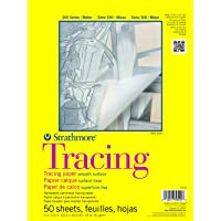 """Strathmore 370-9 300 Series Tracing Pad, 9""""x12"""" Tape Bound, 50 Sheets,White."""