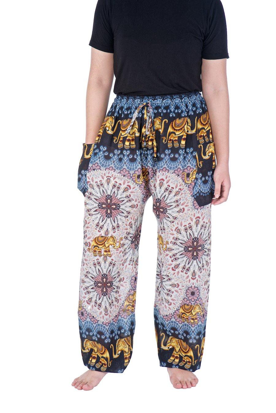 Lannaclothesdesign Drawstring Harem Pants S M L XL XXL Sizes Hippie Lounge Trousers (S, Black Elephant Mandala)