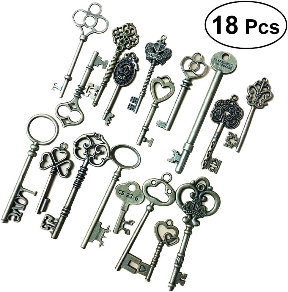 Toyvian 18pcs Vintage Skeleton Keys Decorative Old Fashioned Key for Necklace Bracelets Pendants Jewelry DIY Making Supplies Party Favors