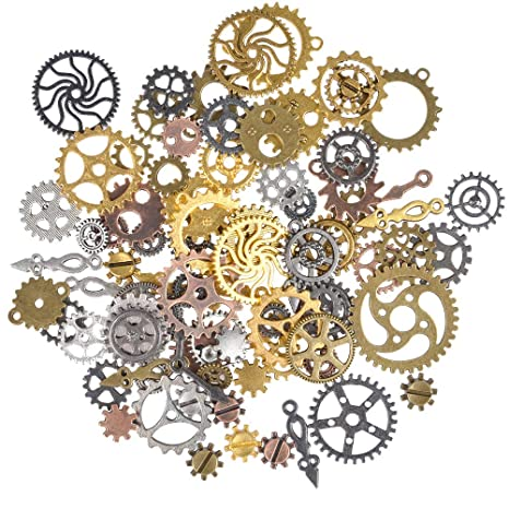 20 STEAMPUNK  METAL CHARMS bronze  COLOUR COGS AND GEARS